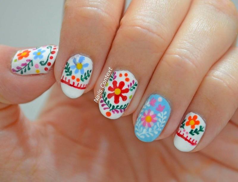 Mexican Embroidery Nails Nail Art By Nailscontext Nailpolis
