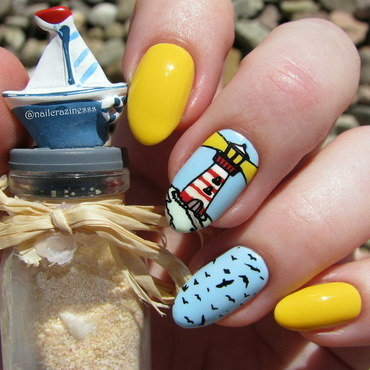 Lighthouse nail art by Nail Crazinesss
