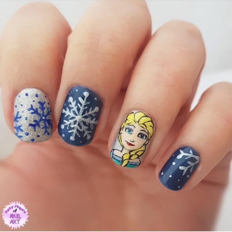 Elsa nails nail art by Funky fingers nail art