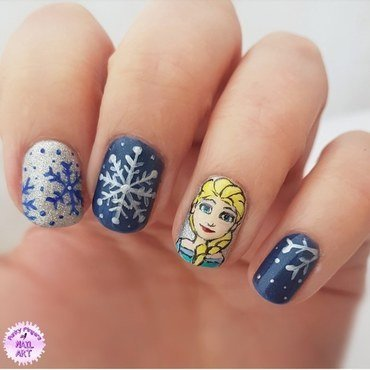 Elsa nails nail art by Funky fingers nail art
