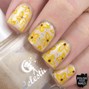 Going To The Black Eyed Susans nail art by Marisa  Cavanaugh