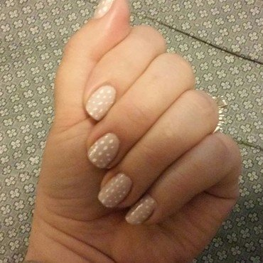 tan dots nail art by SciNerdGirl
