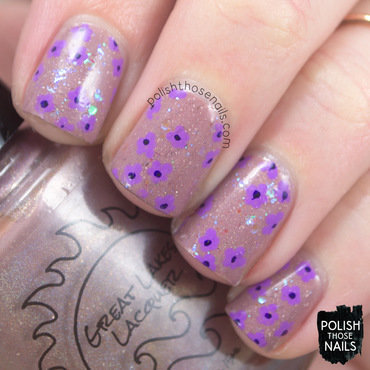 Brown shimmer iridescent glitter purple verbena floral pattern nail art 4 thumb370f
