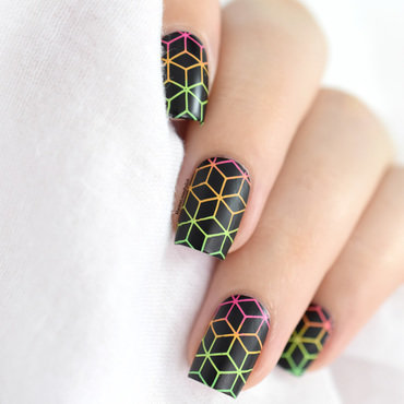 Neon Tumbling Blocks nail art by Marine Loves Polish