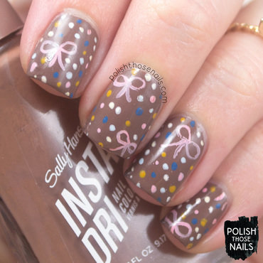 Sally hansen taupe to go brown bow polka dot pattern nail art 4 thumb370f