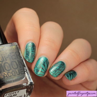 Turquoise with brown stamping nail art by Kerry_Fingertips