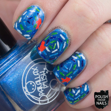 Blue shimmer pond water fish pattern nail art 4 thumb370f