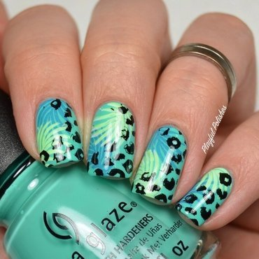 Leopard/Palm Stamping nail art by Playful Polishes