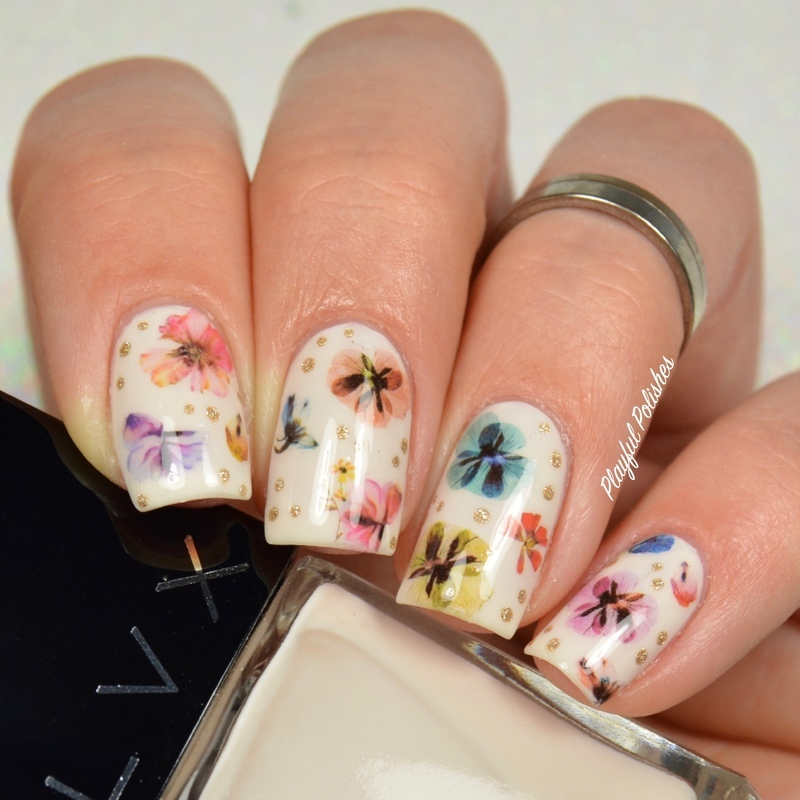 Nude Floral nail art by Playful Polishes