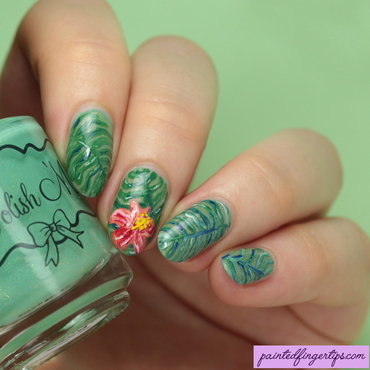 Tropical floral nail art by Kerry_Fingertips