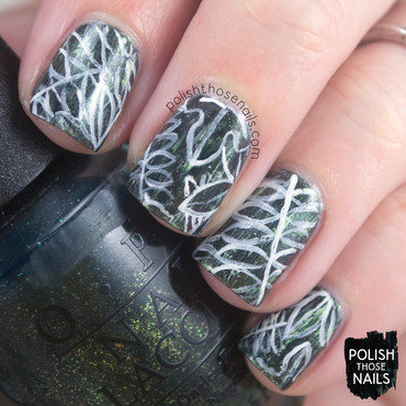 Green shimmer distressed tropical leaves pattern nail art 4 thumb370f