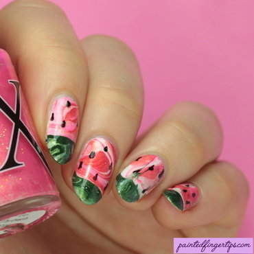 Nail art watermelon water marble thumb370f