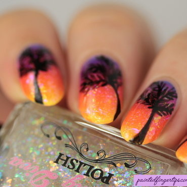 Tropical sunset nail art by Kerry_Fingertips