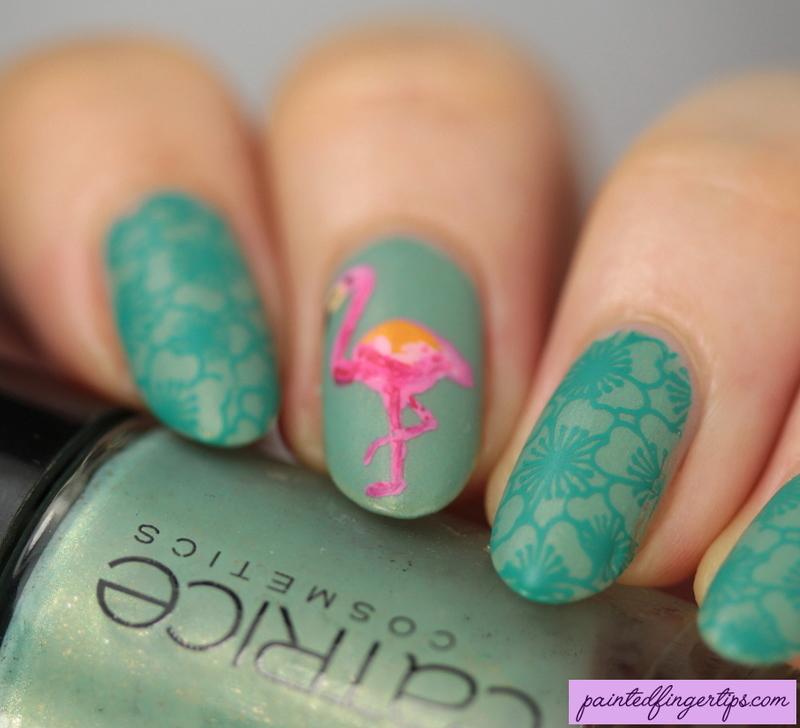 Flamingo nails nail art by Kerry_Fingertips