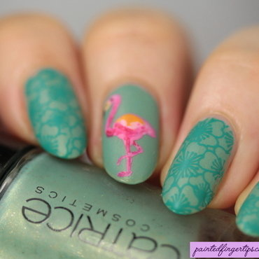 Flamingo nails nail art by Kerry_Fingertips