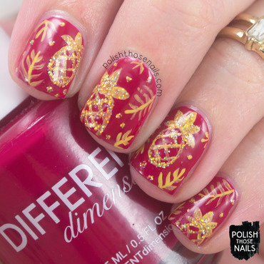 Red gold sparkle glitter pineapple tropical pattern nail art 4 thumb370f