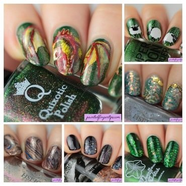 Angled glittery nail art collage thumb370f