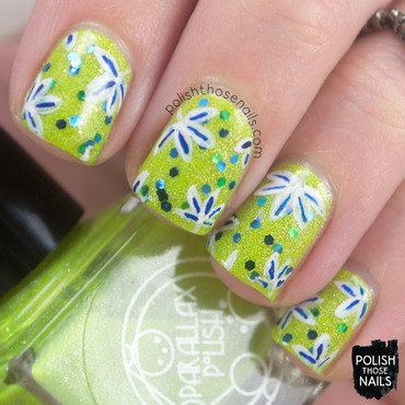 Neon green glitter tropical palm leaf pattern nail art 4 thumb370f