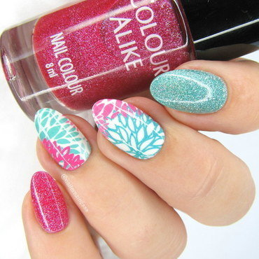 Pink & mint nail art by Nail Crazinesss