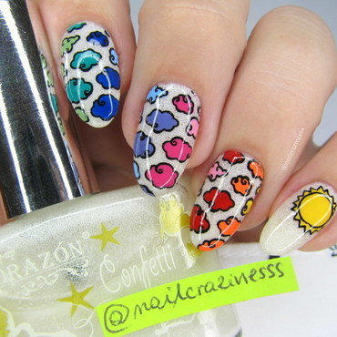 Rainbow clouds nail art by Nail Crazinesss