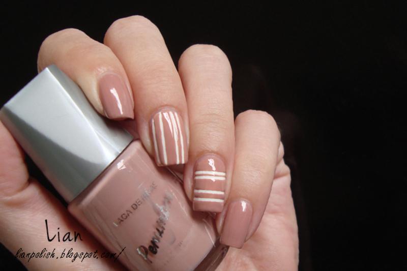Nude Striping Tape Nail Art nail art by Lian - Nailpolis: Museum of ...