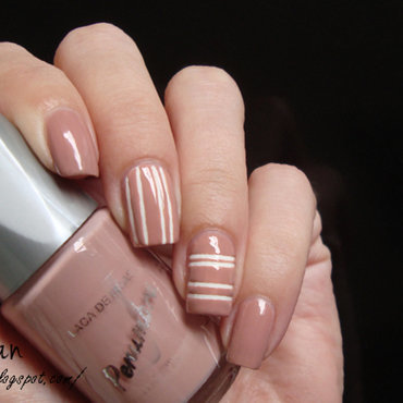 Nude Striping Tape Nail Art  nail art by Lian