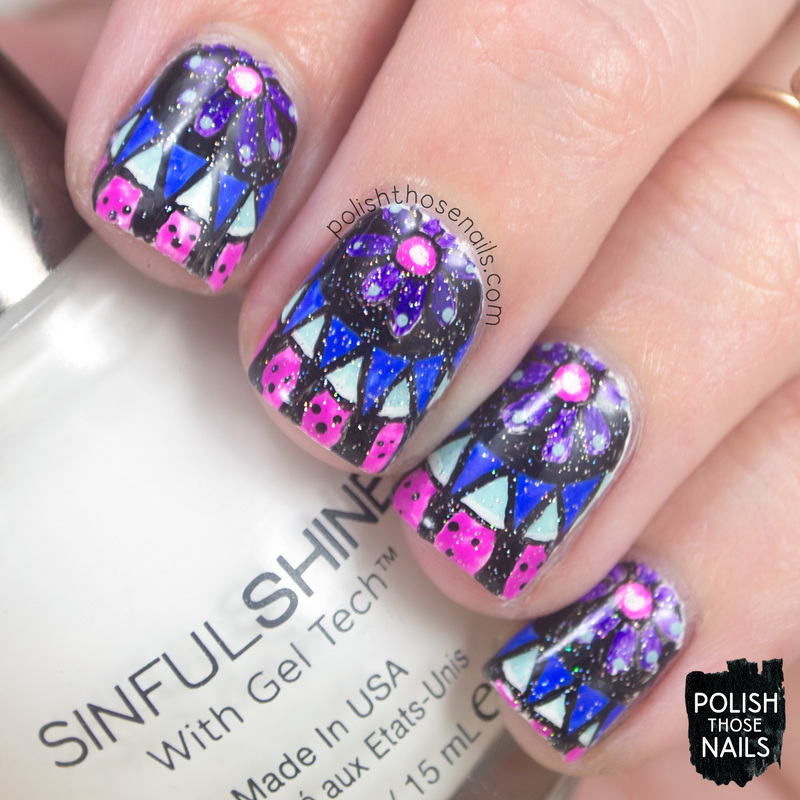 Cooling Mandala Brights nail art by Marisa  Cavanaugh