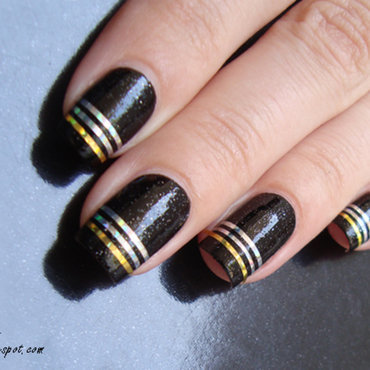 Triple Striping Tape nail art by Lian
