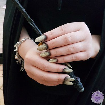 Bellatrix witch nails  nail art by Funky fingers nail art
