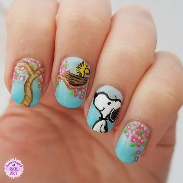 Snoopy spring nails nail art by Funky fingers nail art