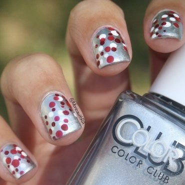 Red Dots nail art by Monica