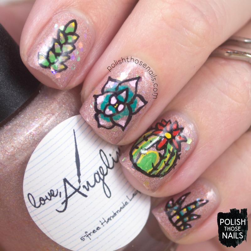 Sandy Succulent Canvas nail art by Marisa  Cavanaugh