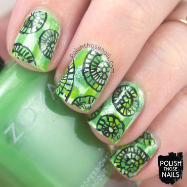 Green patchwork black circle doodle pattern nail art 4 thumb370f