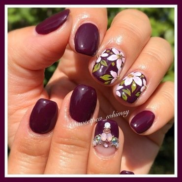 Pink Blossoms on Dark Purple nail art by SweetPea_Whimsy