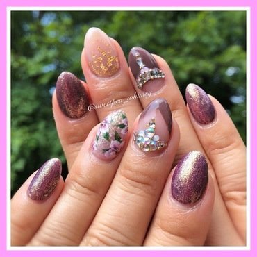 Lavender Halo & Floral nail art by SweetPea_Whimsy