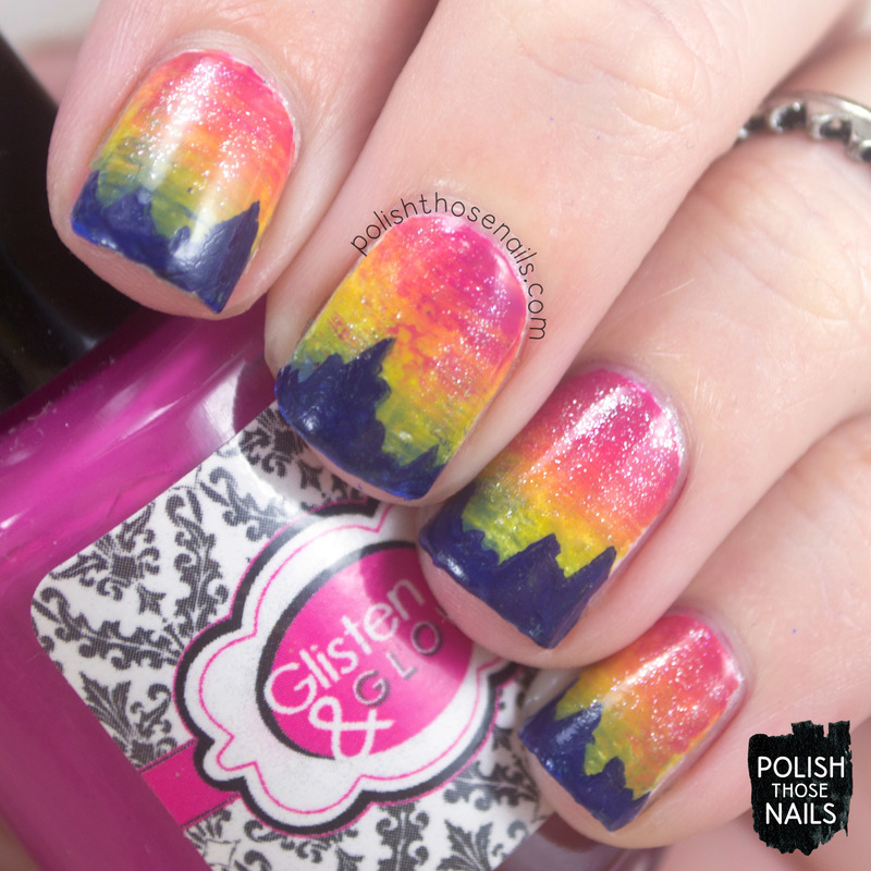 Fanned Out Mountains nail art by Marisa  Cavanaugh
