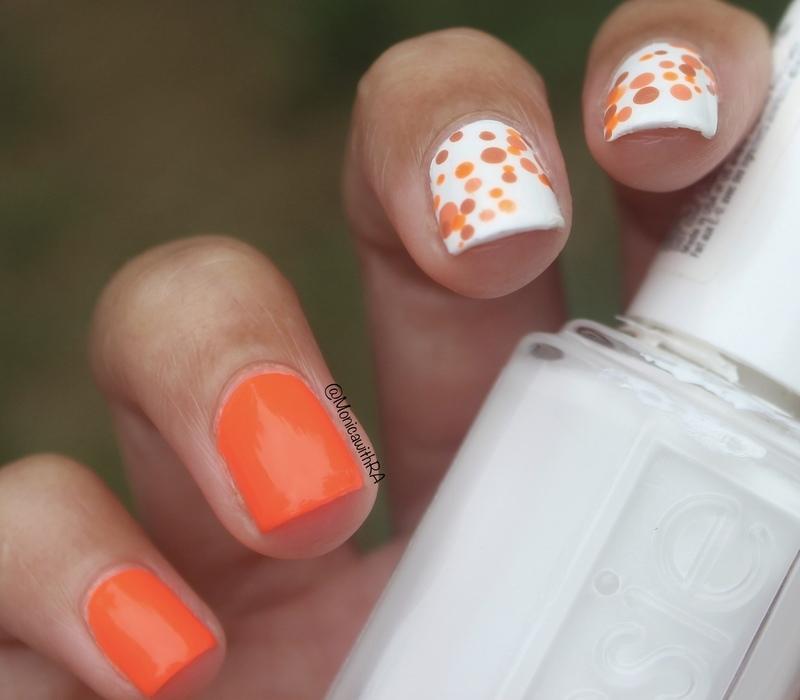 Orange Dotticure nail art by Monica