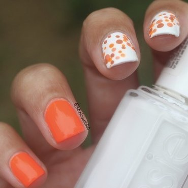 Orange Dotticure nail art by Monica