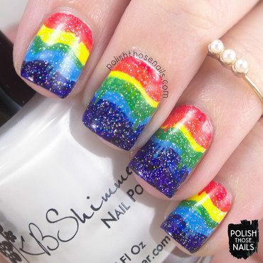 Rainbow Drips nail art by Marisa  Cavanaugh