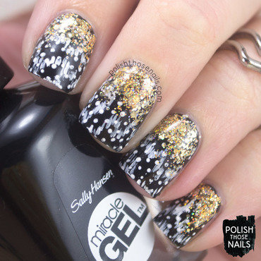 Black polka dot gold glitter gradient nail art 4 thumb370f