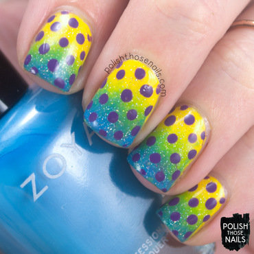 Yellow blue gradient purple polka dot pattern nail art 4 thumb370f