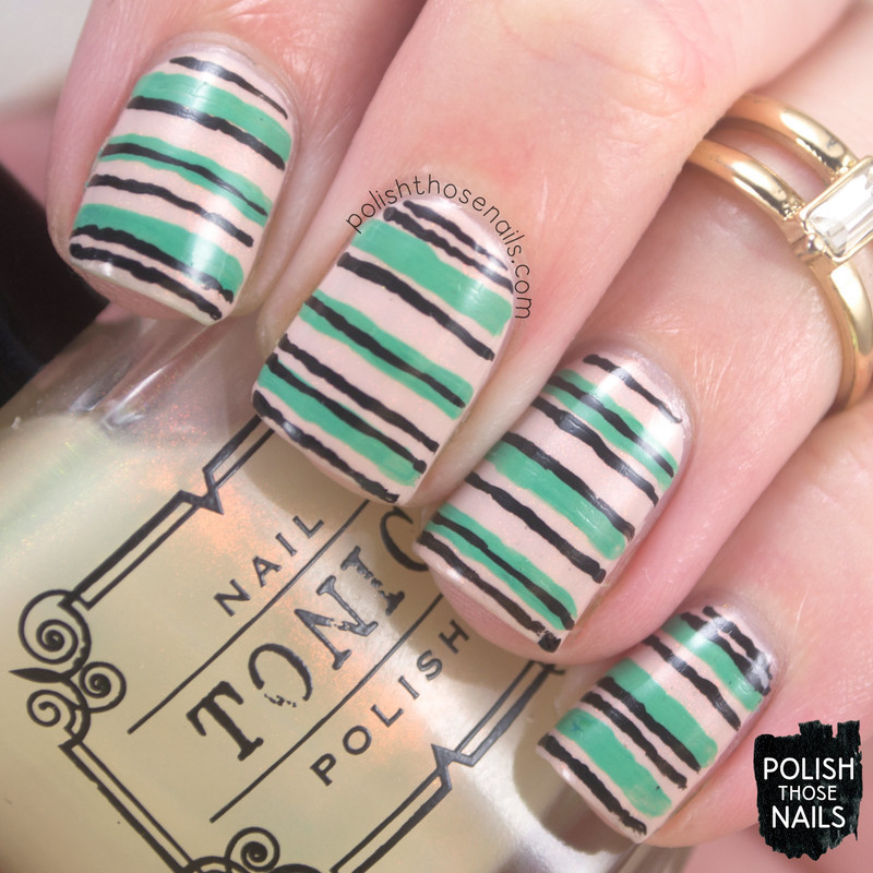 Stripes Away nail art by Marisa  Cavanaugh