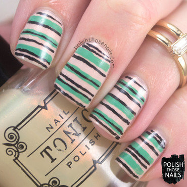 Stripes Away nail art by Marisa  Cavanaugh