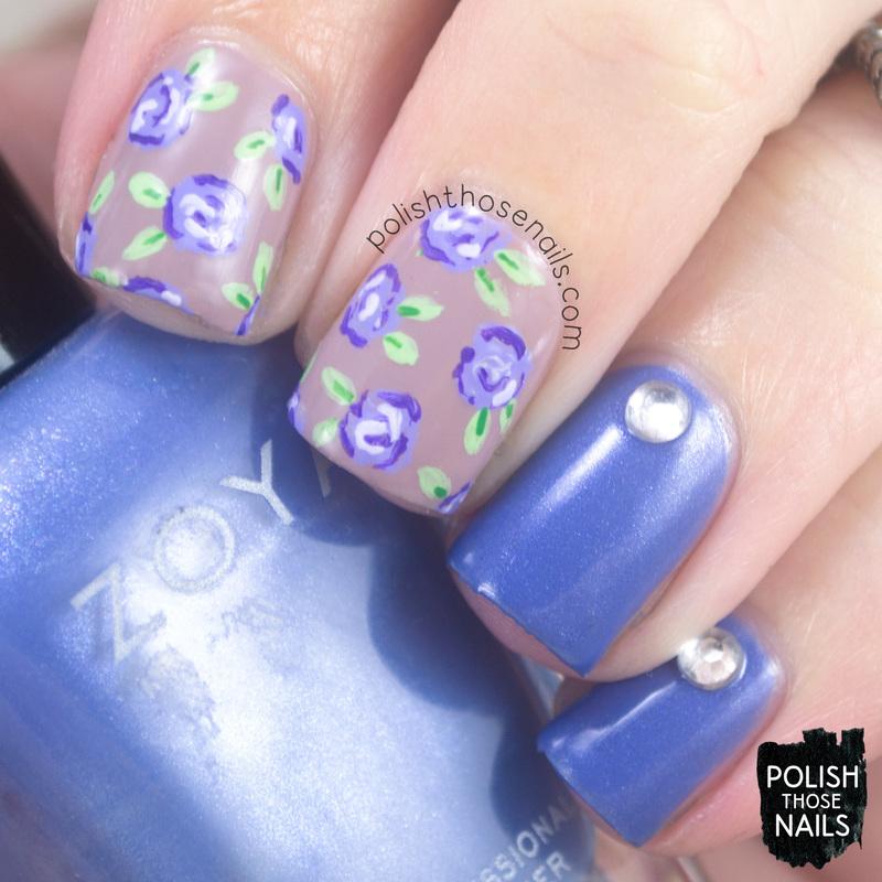 Jo's Roses nail art by Marisa  Cavanaugh