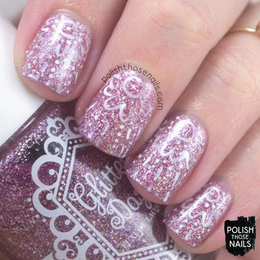 Pink flakie delicate lace pattern nail art 4 thumb370f