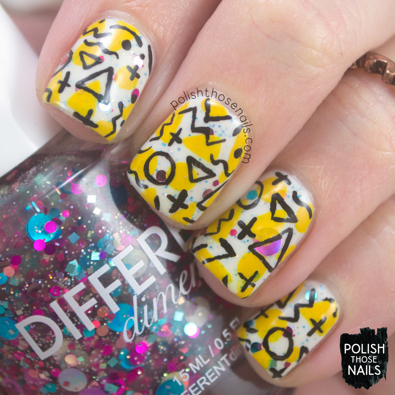 Geometric-ly Metric nail art by Marisa  Cavanaugh