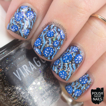 Glitter-y Black & Blues nail art by Marisa  Cavanaugh