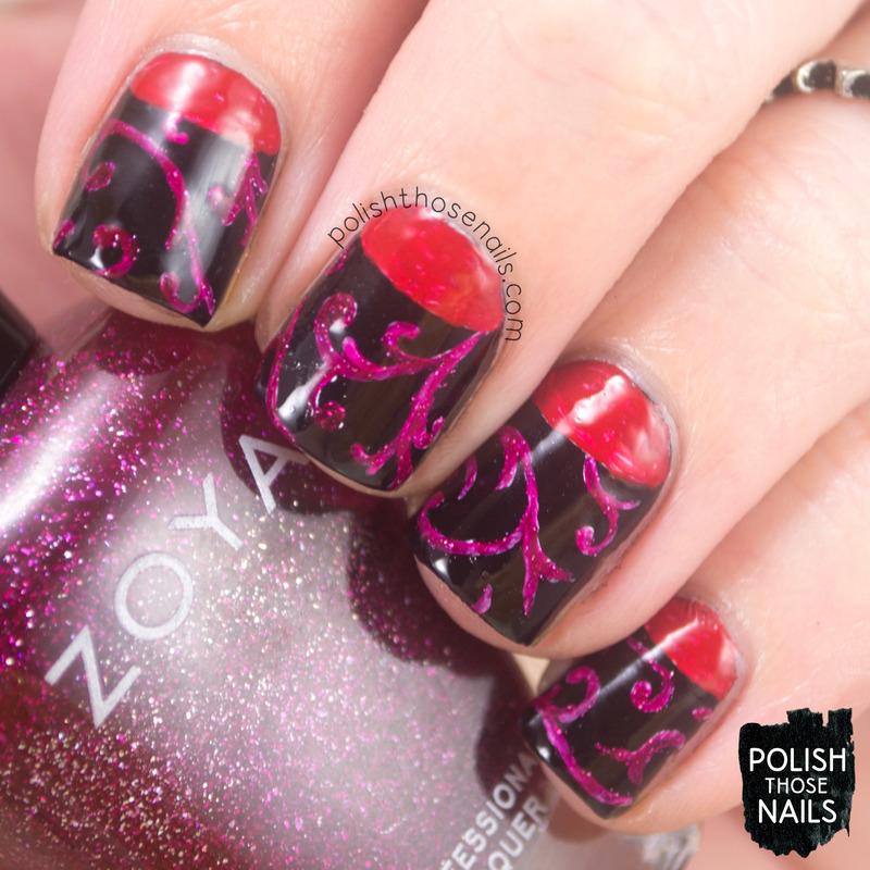 Goth Half Moon-ing nail art by Marisa  Cavanaugh