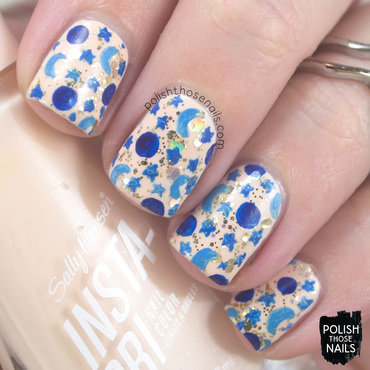 Neutral gold glitter blue moon stars galaxy pattern nail art 4 thumb370f