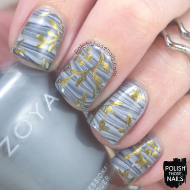 Grey stripe watermarble gold leaf pattern nail art 4 thumb370f